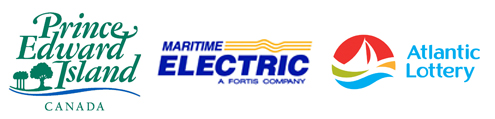 Sponsor logos of Government of Prince Edward Island, Maritime Electric and Atlantic Lottery